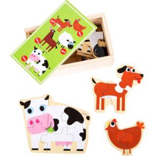 Small Foot Dřevěné puzzle zvířatka z farmy