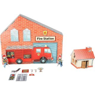 Small Foot Skládací kartónová požární stanice