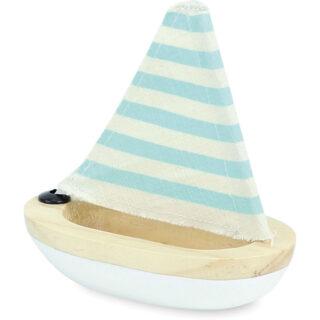 Vilac Dřevěná malá  plachetnice bílá