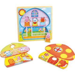 Small Foot Dřevěná hračka vrstvené puzzle Houba