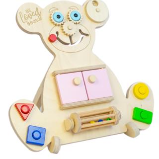 Vzdělávací medvídek Busy Board - Mini Bear - Růžový