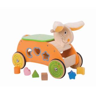 Bigjigs Baby Dřevěný motorický vozík zajíc