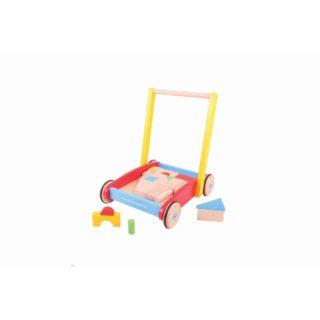 Bigjigs Baby Dřevěné kostky ve vozíku