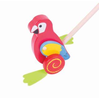 Bigjigs Baby Dřevěný jezdík Papoušek