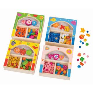 Bigjigs Toys Dřevěné navlékací korále v krabičce malé 1 ks