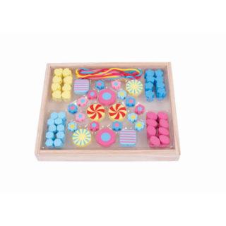 Bigjigs Toys Dřevěné navlékací korálky Candy