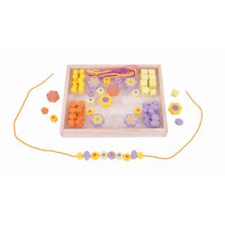Bigjigs Toys Dřevěné navlékací korálky Květinky