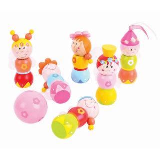 Bigjigs Toys Dřevěné kuželky Víly