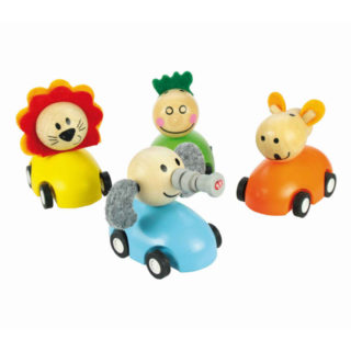 Bigjigs Toys Barevné dřevěné auto se zvířátky 1ks