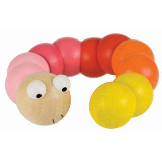 Bigjigs Toys dřevěné hračky - Barevný červík červená