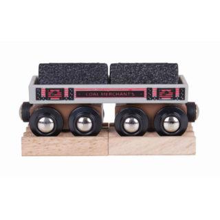 Bigjigs Rail Dlouhý vagónek s uhlím + 2 koleje