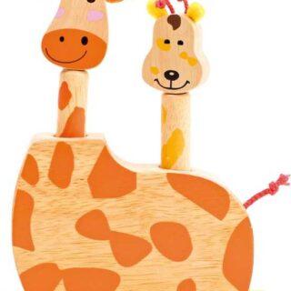 Dětská dřevěná hra skákací žirafí hlavy