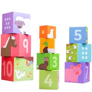 Bigjigs Toys Dřevěné didaktické kostky farma
