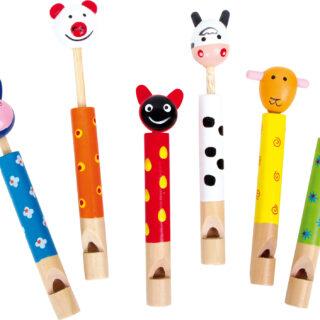 Dětská dřevěná píšťalka zvířátka 1ks  zelená