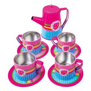 Bino Kovový kávový set růžový