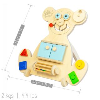 Vzdělávací medvídek Busy Board - Mini Bear - Modrý